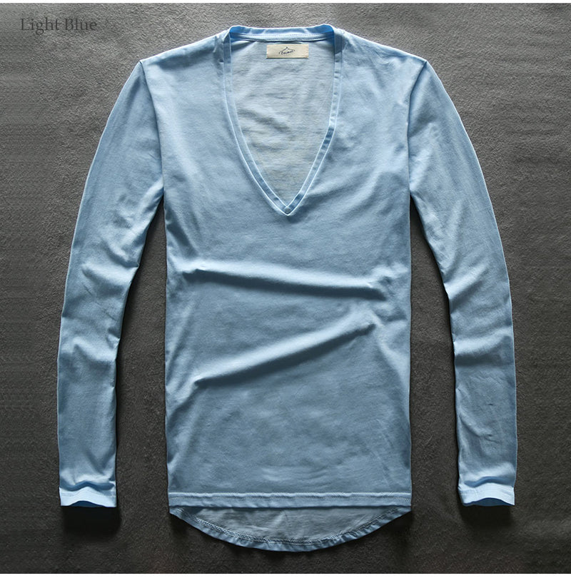 Super Long V-neck Long Sleeve T-shirt