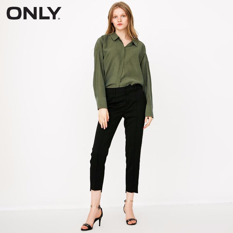 ONLY Women's Low-High Straight Fit Casual Crop Pants