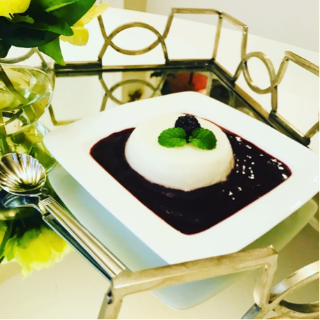 Sweetsop (Sweet Apple) Panna Cotta with Blackberry Sauce