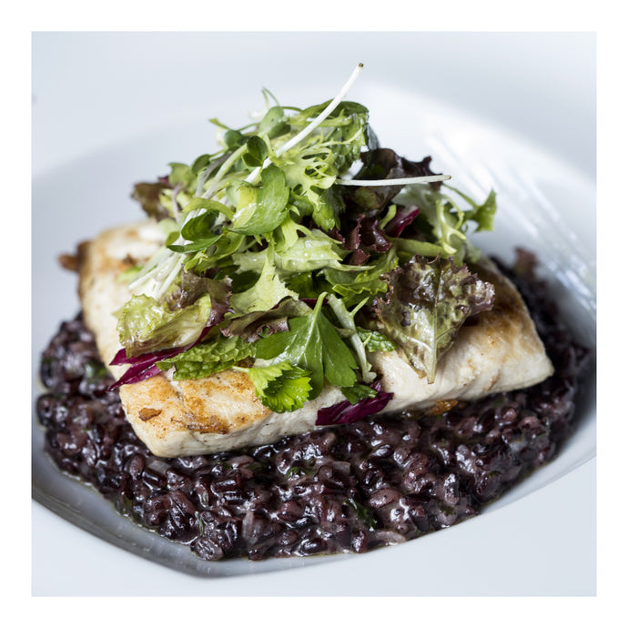 Pan-Seared Halibut over Black Rice and Mixed Green Salad