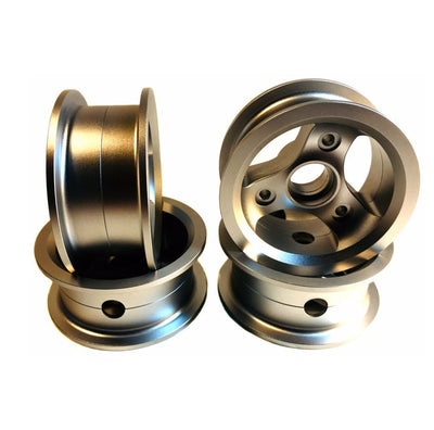 CNC milled Bergmeister hubs in shiny silver for the 150mm Bergmeister all-terrain wheel