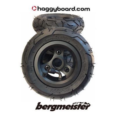 Matte black anodized Bergmeister pneumatic all-terrain wheel 147mm diameter 45mm width