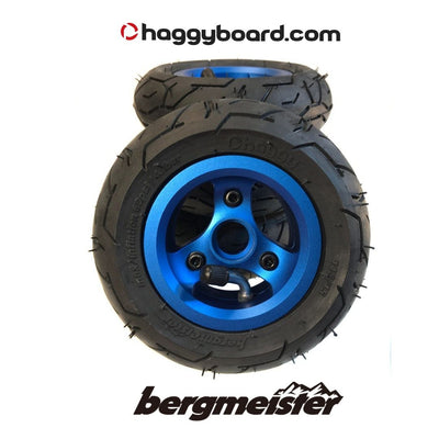 Shiny blue anodized Bergmeister pneumatic all-terrain wheel 147mm diameter 45mm width
