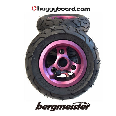 Shiny purple anodized Bergmeister pneumatic all-terrain wheel 147mm diameter 45mm width