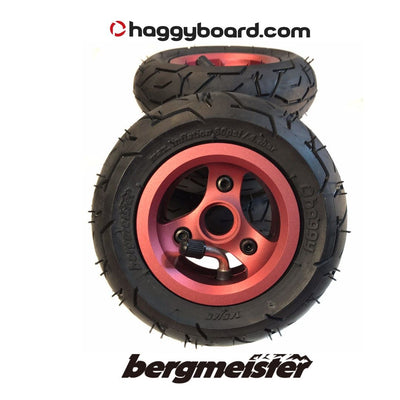 Shiny red anodized Bergmeister pneumatic all-terrain wheel 147mm diameter 45mm width