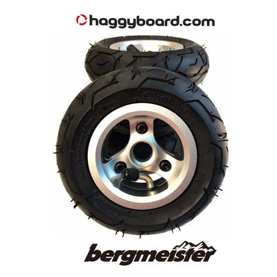 Shiny silver anodized Bergmeister pneumatic all-terrain wheel 147mm diameter 45mm width