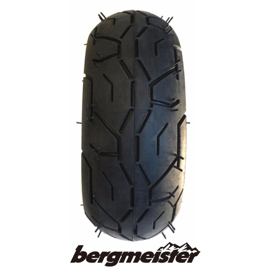 Sideview of a single Bergmeister black coloured pneumatic tire 150mm by 45mm