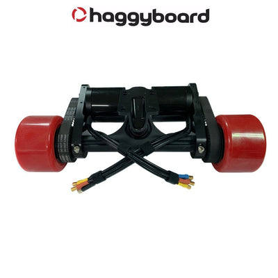 Haggy Drive System Street version back view with 190kv 6374 brushless motors and 90mm Señor Pepe wheels
