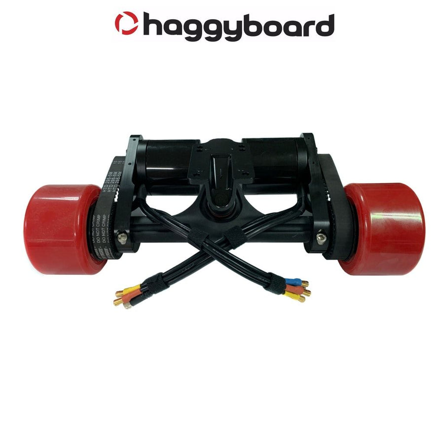 Haggy Drive System  including dual black motor mounts, 6374 190kv motors 36T drive gears, red coloured 90mm Señor Pepe longboard wheels