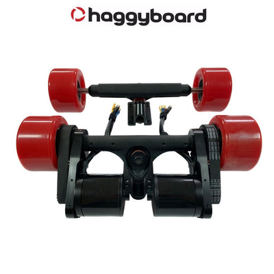 Haggy Drive System Street version top view with 190kv 6374 brushless motors and 90mm Señor Pepe wheels and front truck