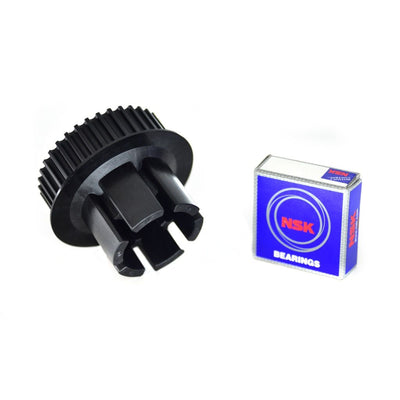 Back view of Nylon Glass fibre composite 36T black drive gear with 6001 type ball bearing made for Abec 11 wheels