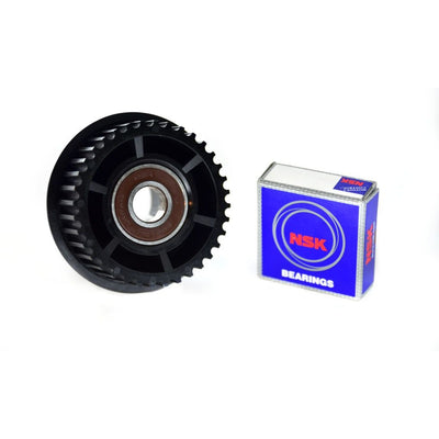 Front view of Nylon Glass fibre composite 36T black drive gear with 6001 type ball bearing made for Abec 11 wheels