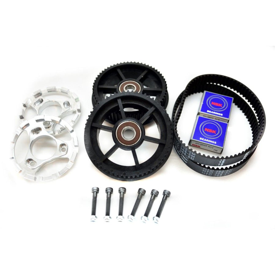 Nylon glass fiber 60T dual drive gear and 365mm x 15mm belt combo kit for Bergmeister All-terrain pneumatic wheels