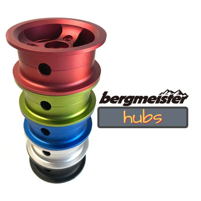 CNC milled Bergmeister hubs in different colors for the 150mm Bergmeister all-terrain wheel