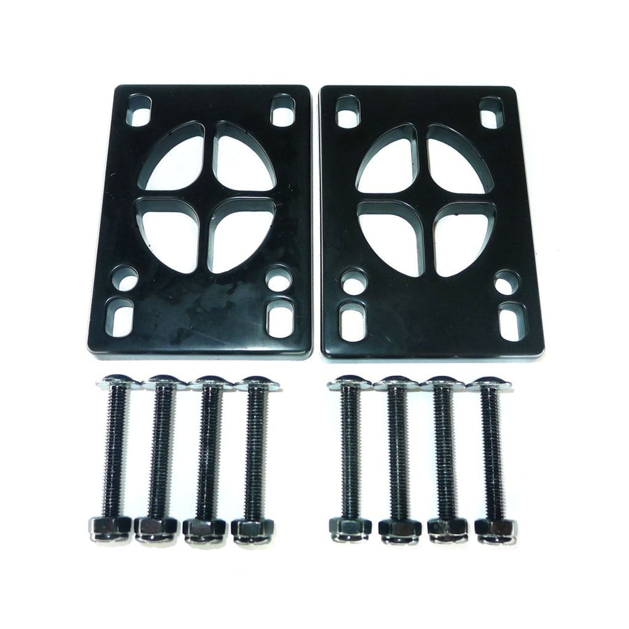 Set of two black silicone riser pads including hardware