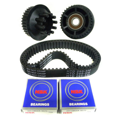 Nylon glass fiber 36T dual drive gear and 295mm x 15mm belt combo kit for Senor Pepe 90mm or other Kegel core wheels