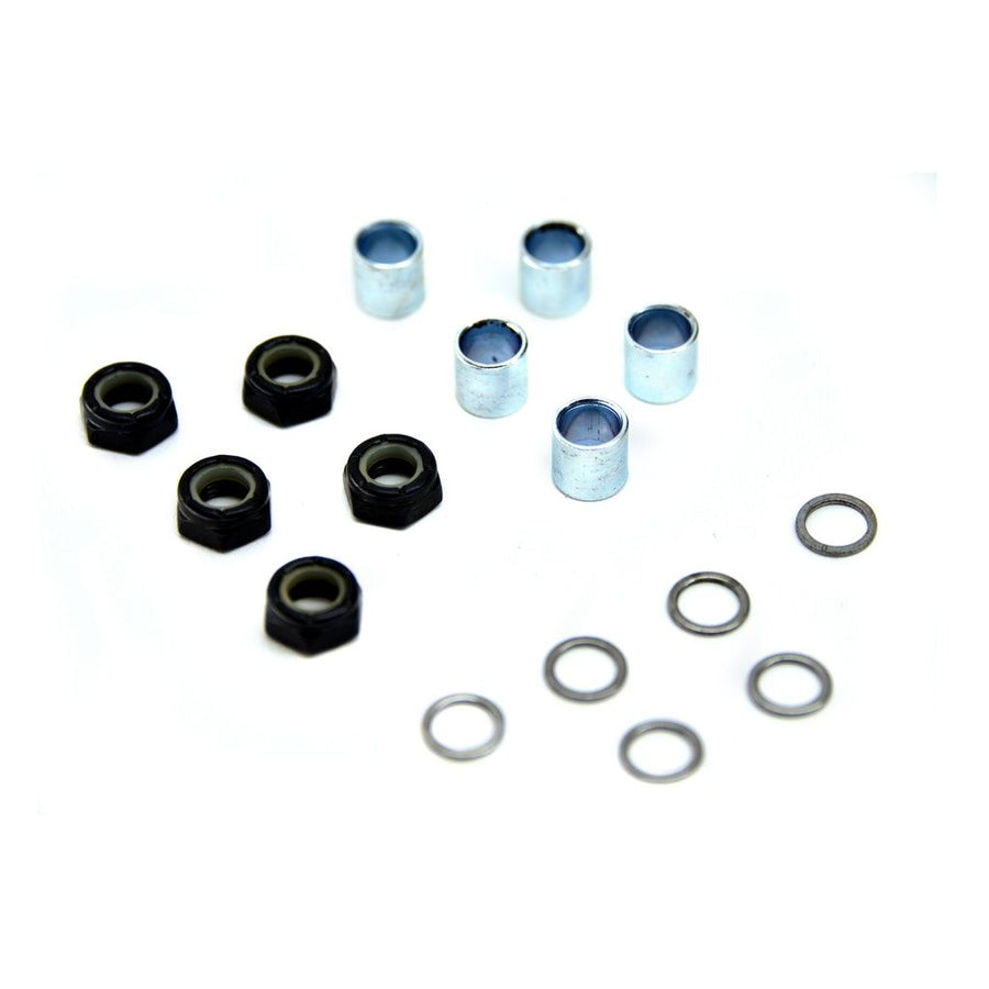 Set of spare parts consisting of speed rings/washers, axle nylon nuts and bearing spacers