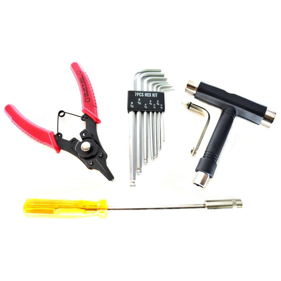 Set of essential tool kit for your skateboards including set of allen keys, skate t-tool, circlip pliers and hex socket wrench driver