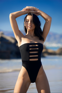 MBM Swim one-piece cut out with high cut sides  swimsuit on model