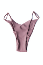 Load image into Gallery viewer, MBM Swim adjustable mauve bikini bottoms with scrunch Brazilian  high cut
