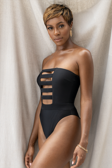 MBM Swim one-piece cut out with high cut sides  swimsuit on beautiful dark skin black model