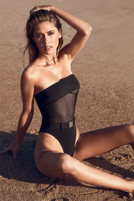 MBM Swim one-piece belted mesh swimsuit monokini beach photoshoot at golden hour model Nikki Murciano