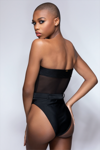 MBM SWIM one-piece belted mesh swimsuit with belt monokini  beautiful black dark skin bald model