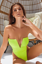 Load image into Gallery viewer, MBM Swim neon green one-piece thong swimsuit monokini model
