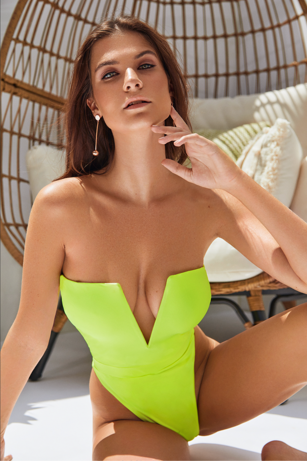 MBM Swim neon green one-piece thong swimsuit monokini model