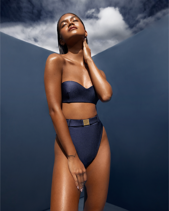MBM Swim belted bikini bandou Navy golden skin