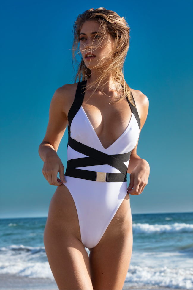 MBM Swim one-piece swimsuit monokini beach photoshoot at golden hour model Nikki Murciano