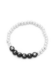 Personalised Friendship Bracelet Silver - Black & White