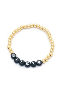 Personalised Friendship Bracelet Gold- Black & White