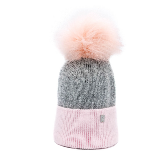 Plush Pom Hat - Pink & Grey