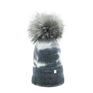 Plush Pom Tie Dye Hat - Charcoal
