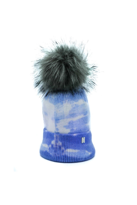 Plush Pom Tie Dye Hat - Blue