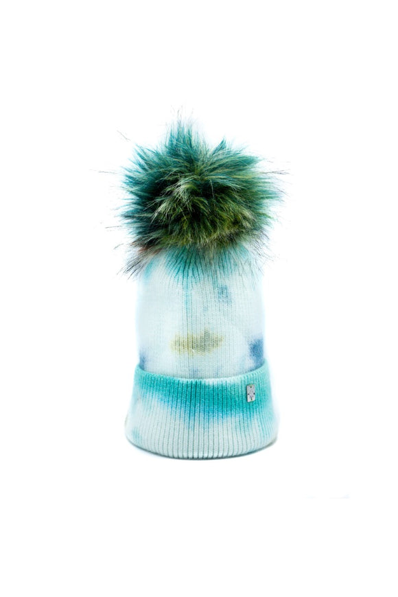 Plush Pom Tie Dye Hat - Green