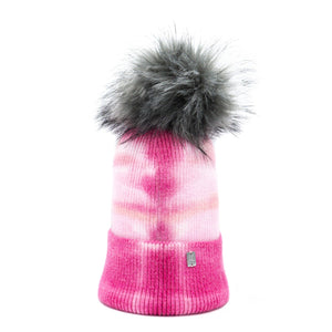 Plush Pom Tie Dye Hat - Pink & Grey