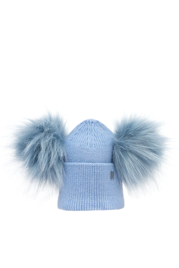 Children's Double Plush Pom Hat - Blue