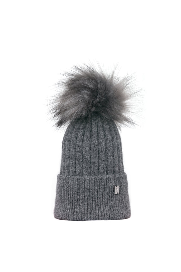 Plush Pom Hat - Charcoal
