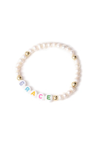 Personalised Candy Bracelet Pearl - Multicoloured & Gold