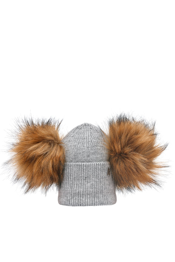 Children's Double Plush Pom Hat - Grey