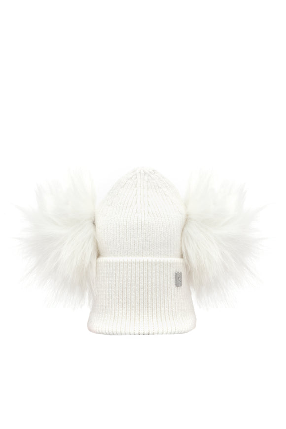Children's Double Plush Pom Hat - Cream