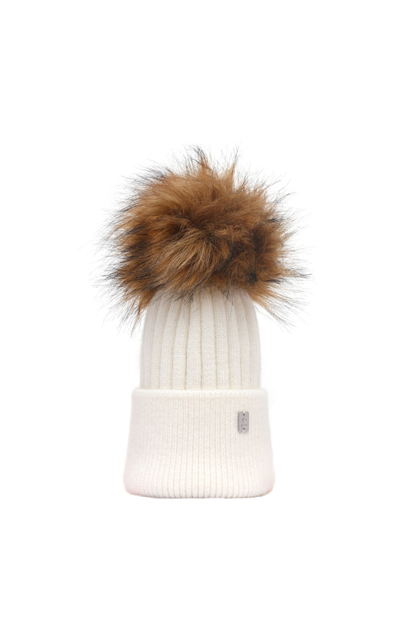 Children's Pom Plush Hat - Cream