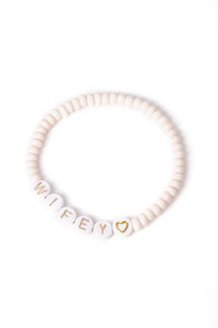 Personalised Candy Bracelet Cream - White & Gold