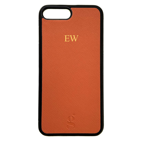 Personalised Leather Phone Case - Orange