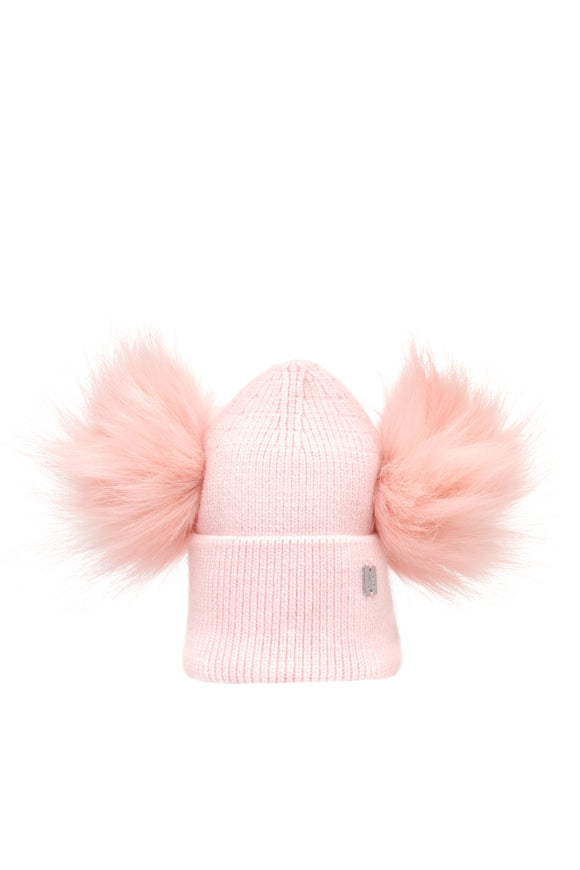 Children's Double Pom Plush Hat - Pink