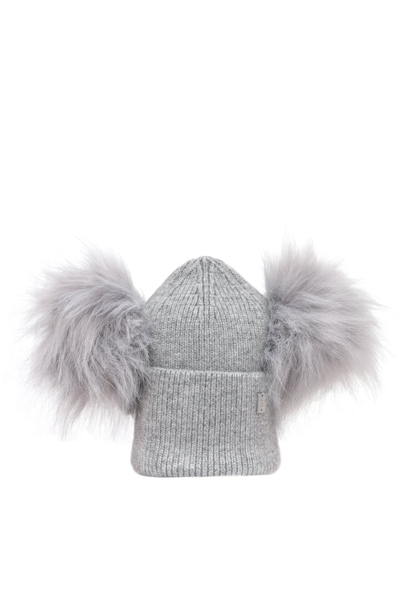 Children's Double Plush Pom Hat -  Full Grey