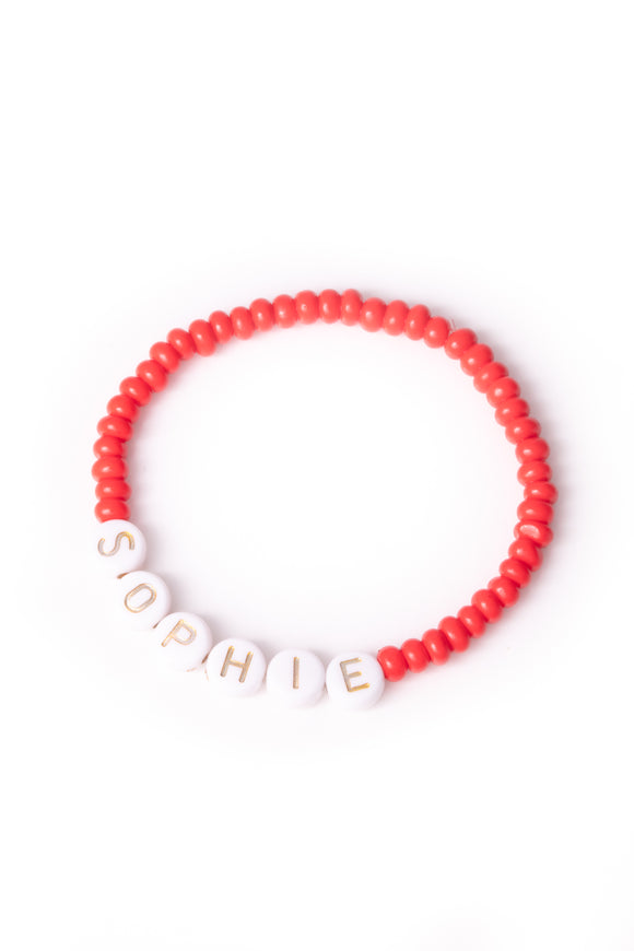 Personalised Candy Bracelet Red - White & Gold