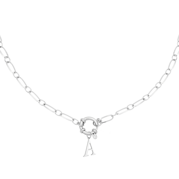 Linked Initial Necklace - Platinum Plated